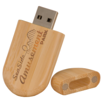8GB Rounded Bamboo USB Flash Drive