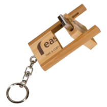 8GB Flip Style Bamboo USB Flash Drive with Keychain