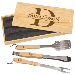 3-Piece BBQ Set in Pine Box