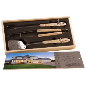3-Piece BBQ Set in Wooden Pine Box with Sublimatable Lid