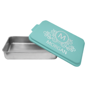 Aluminum Cake Pan with Teal Powder Coated Lid