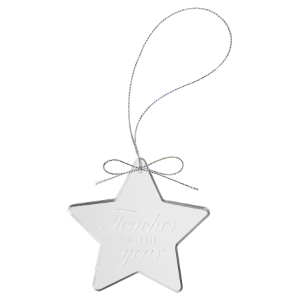 Star Clear Glass Ornament with Silver String