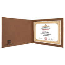 Dark Brown Leatherette Certificate Holder for 8 1/2 x 11 Certificate