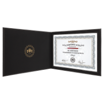 Black & Gold Leatherette Certificate Holder for 8 1/2 x 11 Certificate