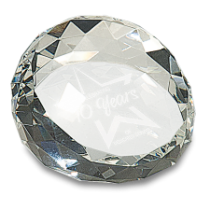 Small Round Angled Crystal Facet Paperweight