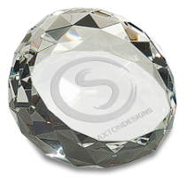 Large Round Angled Crystal Facet Paperweight