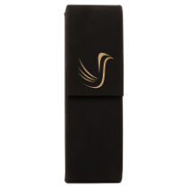 Black & Gold Leatherette Double Pen Case
