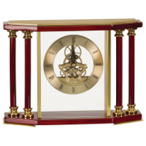 Exective 4-Pillar Gold & Rosewood Piano Finish Clock