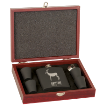 6 oz. Matte Black Flask Set in Rosewood Finish Box w/4 Shot Glasses & Funnel