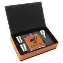 6 oz. Rawhide Leatherette Flask Gift Box Set