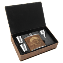 6 oz. Rustic & Gold Leatherette Flask Gift Box Set