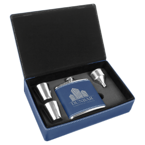 Blue/Silver Leatherette Flask Gift Set