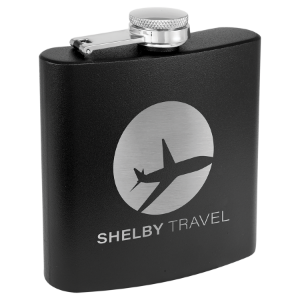 3 oz. Powder Coated Flask Black