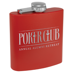 6 oz. Powder Coated Flask Red
