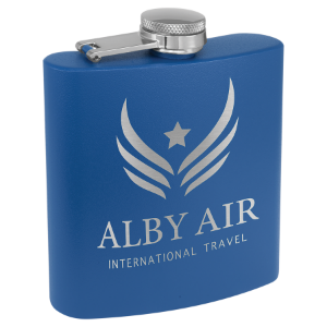 6 oz. Powder Coated Flask Royal Blue