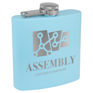 6 oz. Powder Coated Flask Light Blue