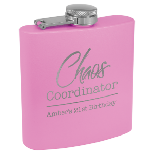 6 oz. Powder Coated Flask Light Purple