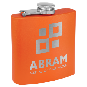 6 oz. Powder Coated Flask Orange