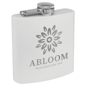 6 oz. Powder Coated Flask White