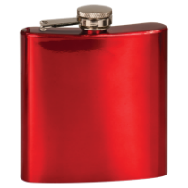 6 oz. Gloss Red Stainless Steel Flask