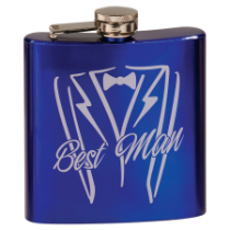 6 oz. Gloss Blue Stainless Steel Flask