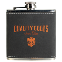 6 oz. Dark Gray & Orange Textured Stainless Steel Flask