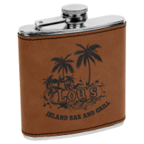 6 oz. Dark Brown Leatherette Flask