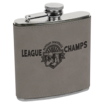 6 oz. Gray Leatherette Flask