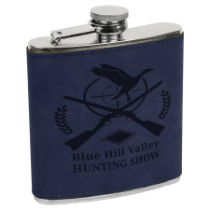 6 oz. Blue Leatherette Wrapped Stainless Steel Flask