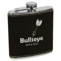 6 oz. Black & Silver Leatherette Flask