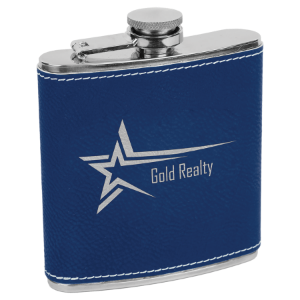 Blue/Silver 6 oz. Leatherette Flask