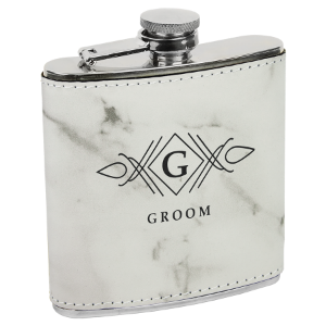 White Marble Leatherette 6 oz. Flask