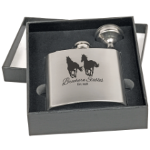 6 oz. Stainless Steel Flask Gift Set in Black Presentation Box with Funnel