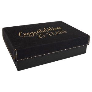 Black/Gold Small Gift Box with Leatherette Wrapped Lid
