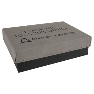 Gray Small Gift Box with Leatherette Wrapped Lid