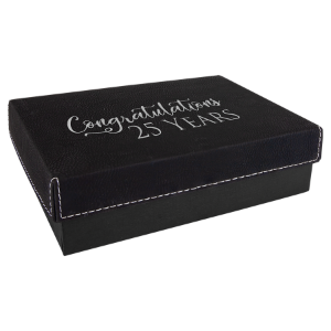 Black/Silver Small Gift Box with Leatherette Wrapped Lid