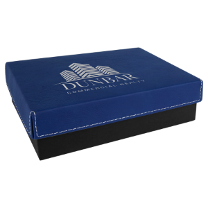 Blue/Silver Small Gift Box with Leatherette Wrapped Lid