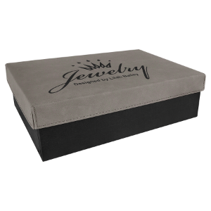 Gray Medium Gift Box with Leatherette Wrapped Lid