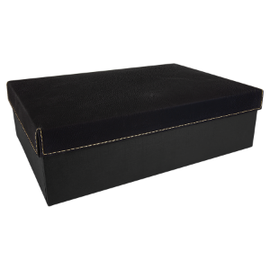 Black/Gold Large Gift Box with Leatherette Wrapped Lid