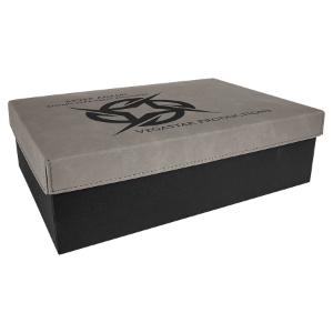 Gray Large Gift Box with Leatherette Wrapped Lid