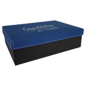 Blue/Silver Large Gift Box with Leatherette Wrapped Lid