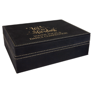 Black/Gold Small Laserable Leatherette Premium Gift Box