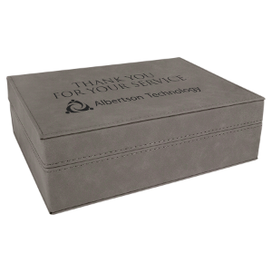 Gray Small Laserable Leatherette Premium Gift Box