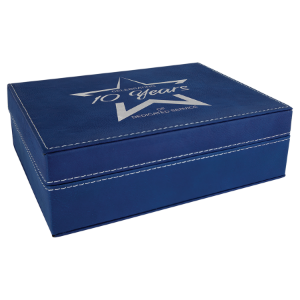 Blue/Silver Small Laserable Leatherette Premium Gift Box