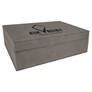 Gray Medium Laserable Leatherette Premium Gift Box