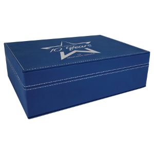 Blue/Silver Medium Laserable Leatherette Premium Gift Box