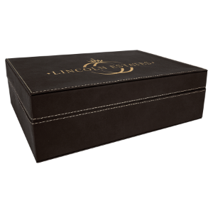Black/Gold Medium Laserable Leatherette Premium Gift Box