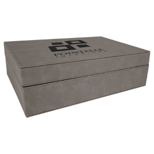 Gray Large Laserable Leatherette Premium Gift Box