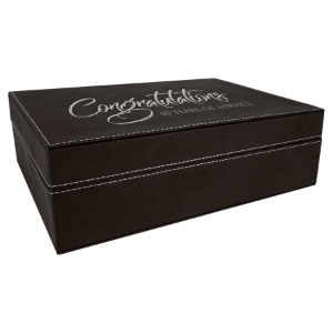 Black/Silver Large Laserable Leatherette Premium Gift Box