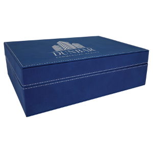 Blue/Silver Large Laserable Leatherette Premium Gift Box